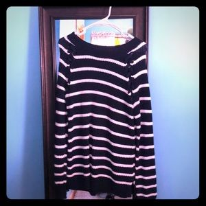 Soft navy and white striped crew neck sweater